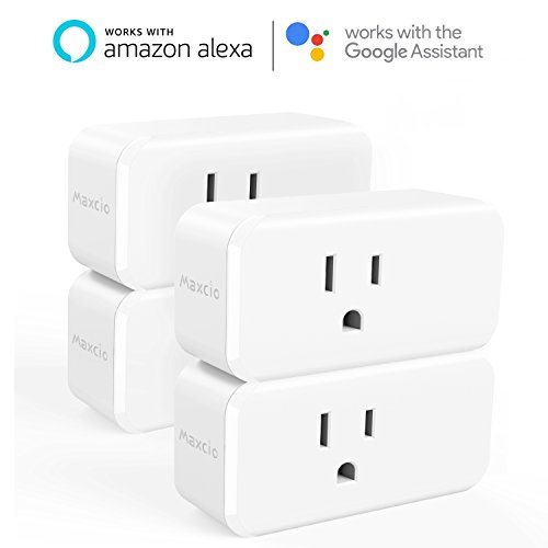 Alexa Mini Smart Plug, Maxcio 15A WiFi Outlet with Energy Monitoring, No Hub Required, Compatible with Alexa and Google Assistant, Control your Devices from Anywhere - 4 Packs
