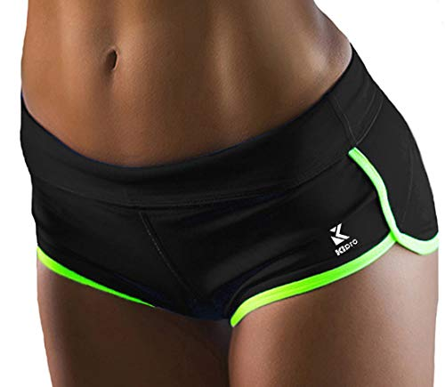 Kipro Womens Ultra Lightweight Running Tennis Workout Yoga Shorts Black/Fluorescent - Training Black Army Shorts Physical