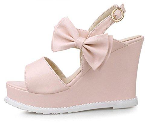 YCMDM Womens nodo della farfalla tacco alto traspirante impermeabile Slope PU sandali spessi , pink , 39