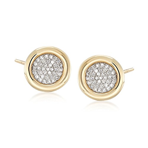 Ross-Simons 0.21 ct. t.w. Bezel-Set Pave Diamond Earrings in 14kt Yellow Gold ()