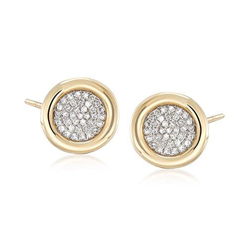 Ross-Simons 0.21 ct. t.w. Bezel-Set Pave Diamond Earrings in 14kt Yellow Gold
