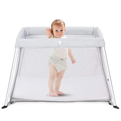 BABY JOY Baby Playpen, Ultra-Light Aluminum Portable Travel Crib with Comfy Mattress & Oxford Carry Bag, Gray