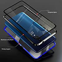 Vsmano Oneplus 6 Magnetic Case, Magnetic Adsorption Metal Case Aluminum Bumper, Double-Sided 9H Tempered Glass Back Cover for Oneplus 6 (red)