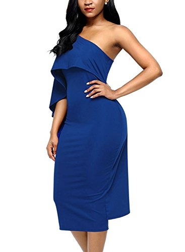 One Midi Overlay Ruffle Party Blue Womens Bodycon Shoulder Royal Dokotoo Dresses 7Ex1q1
