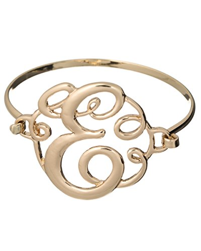Jewelry Nexus E Monogram Filigree Designer Gold-tone Wire Bracelet