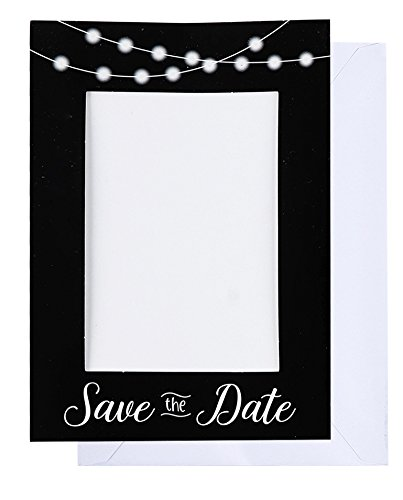 Save the Date Photo Insert Notecards - 48 Pack Picture Frame Notecards. Perfect for Wedding, Engagement, Anniversary, Baby Shower Invitation. Holds 4 x 6 Insert. Printed inside with fill in invitation -