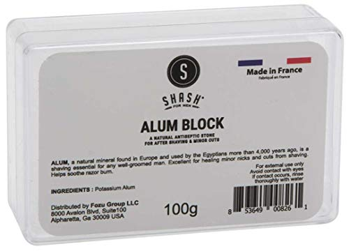 SHASH Alum Block (100g) - All-Natural Shaving Bar Quickly Stops Bleeding with Antiseptic, Anti-Bacterial Mineral Salt - Soothes Razor Burn, Bumps and Redness - Safe and Easy to Use - Made in France