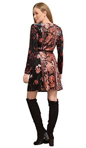Femme Velours Manches Idees Noir Imprimée Robe Longues 101 En nwq0T1XwE