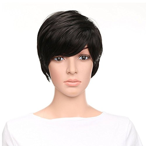 Beauty : Naseily Natural Short Straight Hair Synthetic Wigs For Black Women Short Pixie Hair Wigs