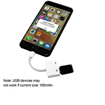 USB Camera Adapter,Hangang Lightning to USB Camera Adapter with a USB Power Adapter for iPhone IPAD Can Connect USB Peripherals like Hubs Ethernet Adapters Audio MIDI Interfaces and Card Readers forCompact Flash SD micro SD No App Required