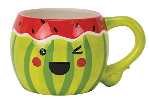 Boston Warehouse Mug, Watermelon Collection, 18oz Capacity, Hand Painted Ceramic