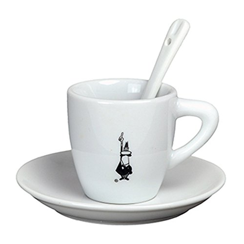 Bialetti Espresso Cups - Bialetti Classic Italian Espresso Cup and Saucer with Spoon Set in Porcelain, White