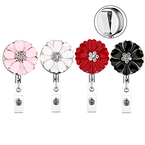 Soleebee Retractable Badge Reel Holder Clip with Belt Clip, Heavy Duty Metal Camellia Bling Crystal ID Badge Holder for Nurse, 24 Inches Retractable Steel Wire Cord ()