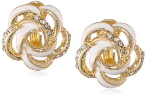 "Anne Klein ""In Full Bloom"" Gold-Tone White Floral Button Clip-On Earrings"