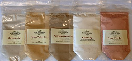 Clay Sampler - 5oz (Five 1 oz Packages) - Soap Making Supplies. Australian Green Clay, Bentonite Clay, Kaolin Clay, French Pink Clay, French Yellow Clay. -