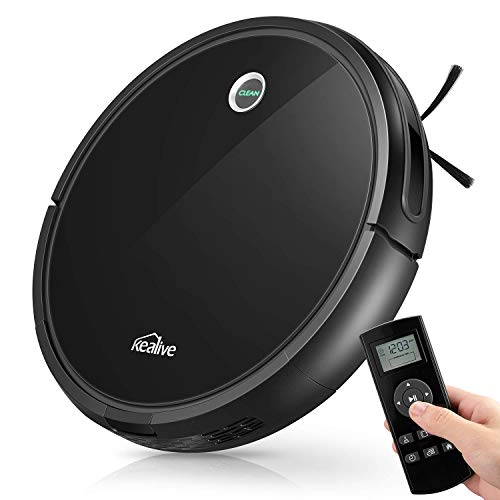 Robot Vacuum, Kealive Robotic Vacuum Cleaner, 1400PA Super Suction, 2.7inch Super Thin, 100mins Long Lasting, Self-Charging, Suitable for Pet Hair, Carpets, Hard Floors, Black