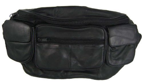 Large Black Genuine Lambskin Leather Fanny Pack Waist Bag with Cell Phone Pouch by Private Label