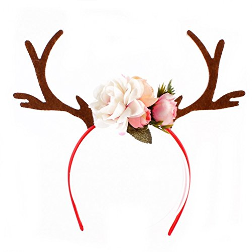 Child Deer Costumes (Ubbetter Girls Deer Antlers Ears Flower Headband Cosplay Costume (White))