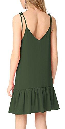 Line Straps Spaghetti Women's A Ruffle Dress Neck Aro Sleeveless Sexy Lora V Green Army w05v5qAYx