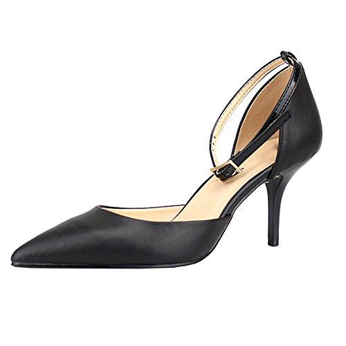 Women's Ankle Strap Mid Kitten Heel Pumps High Heels Office Dress Party Shoes Black