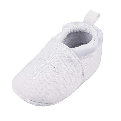 Baby Boys Girls Premium Soft Sole Christening Baptism Church Cross Slipper Crib Shoes, 6-12 Months by Estamico