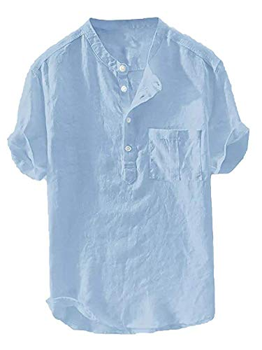 Beotyshow Mens Mandarin Banded Collar Shirts Retro Chinese Tunic Tops Short Sleeve Fishing Tees Summer Linen Henley Shirt Casual Pullover Beach T-Shirts Plain Blouses for Men Blue