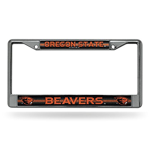 - NCAA Oregon State Beavers Bling Chrome License Plate Frame with Glitter Accent