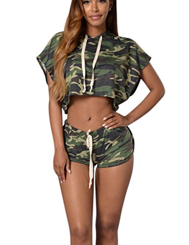 Mojessy Women's Batwing Sleeve 2 Pieces Outfit Hooded Top+Shorts Set Rompers Medium Camouflage