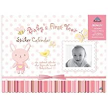 """Baby's First Year Undated Wall Calendar with Stickers to Mark """"Firsts"""" - Pink"""