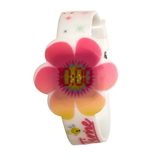 Trolls Girls Touch Activated LED Flower Face Digital Watch White Floral Band