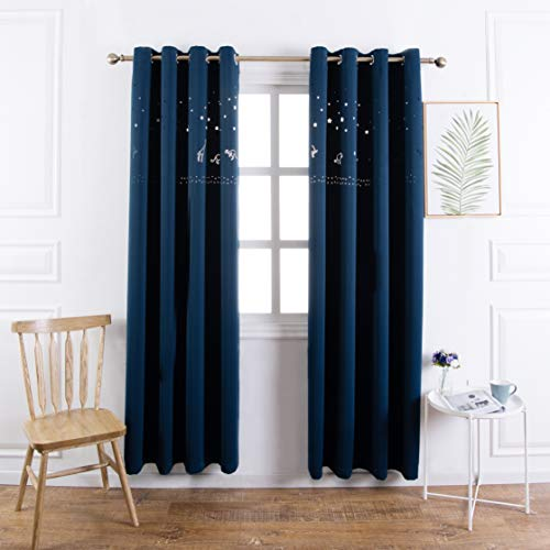MANGATA CASA Baby Nursery Blackout Curtains Cutout Design with Animal for Boy Kids Room 2 Panels, Grommet Darkening Drapes Die Cut Window for Children Room(Navy 52X63IN) ...