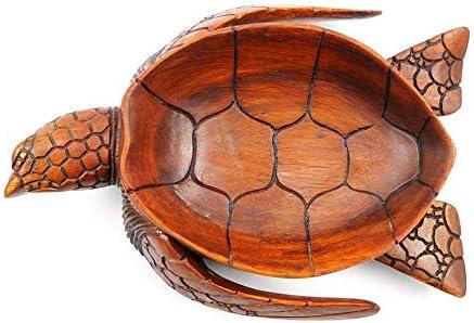 Ciotola vuoto tasca forma tartaruga di mare in legno esotico intagliato