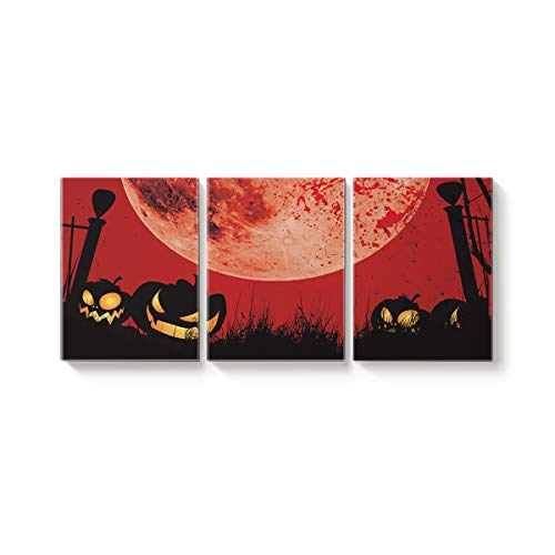 Arts Language 3 Piece Canvas Wall Art Painting for Office Bedroom Living Room Home Decor,Red Pumpkin Moon Horror Halloween Pictures Modern Artworks,12 x 16in x 3 Panels