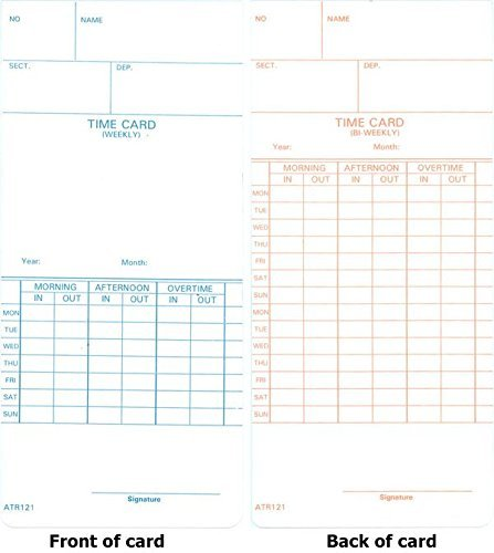 Time Card For Model Atr120 Electronic Clock Weekly Or