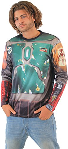 [Star Wars Boba Fett Sublimated LONG SLEEVE Costume T-Shirt (Adult Small)] (Wookie Costumes)