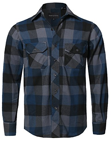 Casual Plaid Flannel Woven Long Sleeves Button Down Shirt Navy M (Navy Plaid Flannel)