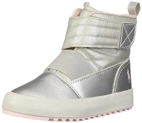 (Polo Ralph Lauren Kids Girls' Gabriel III Fashion Boot, Silver/Light Pink, M090 M US Toddler)