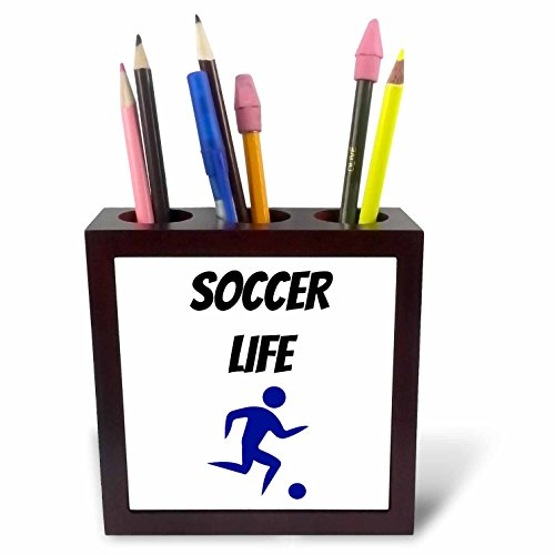 3dRose Xander sports quotes - Soccer life, picture of a soccer player kicking a ball - 5 inch tile pen holder (ph_256501_1) - Kicking Photo