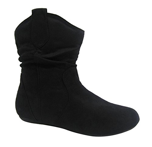 Forever Link Racheal-31 Mujeres Slouchy Microsuede Pull Up Botines, Negro