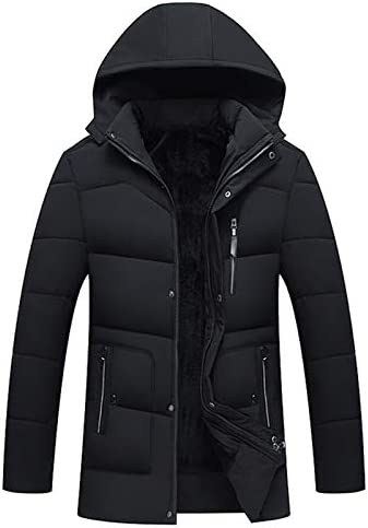 Zopkly Mens Fur Parka Thicken Warm Cotton-Padded Casual Men Hooded Coats