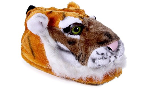9003-1 - Orange Tiger - Small - Happy Feet Animal Slippers
