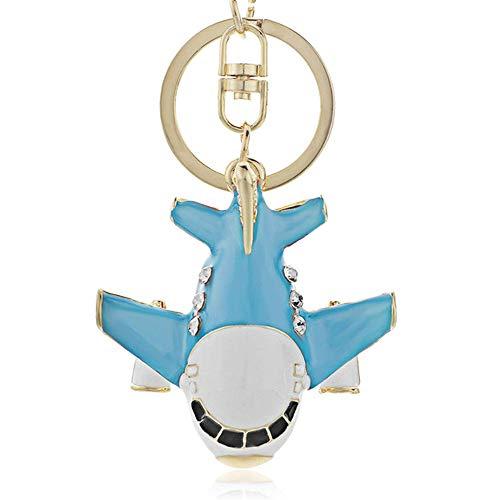 JewelBeauty Creative Crystal Cartoon Aircraft Airplane Keychain Key Chain Ring Keyfob Keyring Car Bag Pendant Purse Charm (Blue)