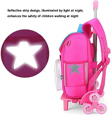 Color : Rose red, Edition : Two Rounds Ly-lgb Babu Bean Trolley Schoolbag Primary School 1-3 Grade Male Child Schoolbag Guardian Ridge 6 Years Old Girl Reduced Waterproof