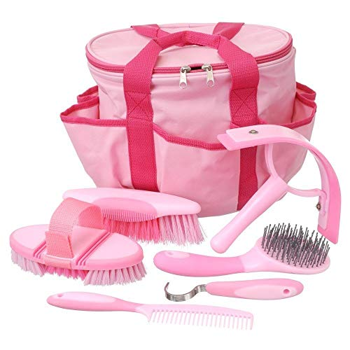 Tough 1 Horse Grooming Kit Set Great Grips Brushes Hoof Pick Sweat Scraper Pink