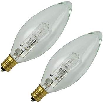 Feit Electric BPQ40EFC//2 40W ES Halogen Clear Flame Tip Chandelier Bulb 2PK