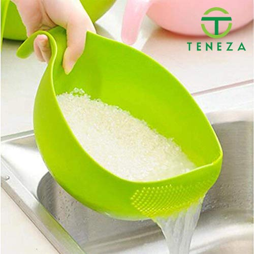 Teneza Kitchen Multi Color Plastic Bowl Thick Drain Basket with Handle for Rice,Vegetable & Fruit Price & Reviews