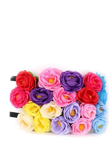 Essential Set of 12 pcs Mix Color Flower Crown Headband /Halo/coachella /Edc /Hippie Flower Headband /Garden Party / Wedding (B- 12 (Falling Head Halloween Costume)