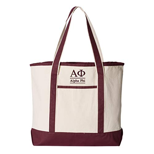 Alpha Phi Large Canvas Tote Bag