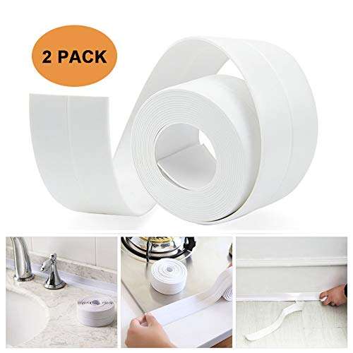 Tub and Wall Sealing Caulk Strip Wall and Corner Self Adhesive Peel and Caulk Strip Fixture Tape Caulk Sealer Tub Surround Waterproof Decorative Sealer Trim Pack of 2 (White) by TopWoot