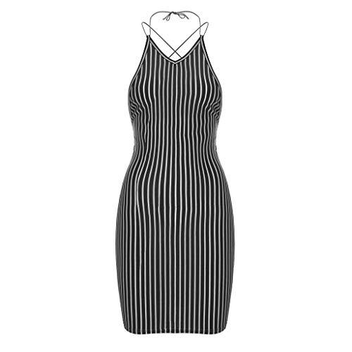 Popular Striped Print Sexy Backless Criss Cross Halter Nightclub Style Holiday Dress Black ()
